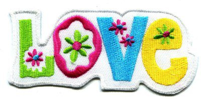 Love peace hippie retro weed embroidered applique iron-on patch S-39