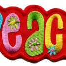 Peace sign hippie retro boho love weed flower power applique iron-on patch Small S-31