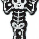 Skull skeleton goth punk emo horror biker sew applique iron-on patch S-427