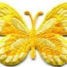 Butterfly yellow hippie retro boho embroidered applique iron-on patch S-168