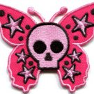 Butterfly skull horror goth emo punk biker applique iron-on patch S-183