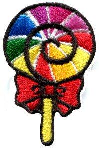 Lollipop gay lesbian pride rainbow flag retro LGBT applique iron-on patch S-191