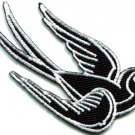 Bird tattoo swallow dove swiftlet sparrow biker applique iron-on patch S-361