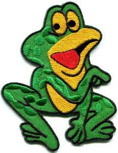 Frog toad hippie retro fun applique iron-on patch S-231