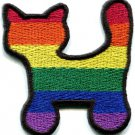Cat kitten kitty gay lesbian pride rainbow LGBT applique iron-on patch S-136