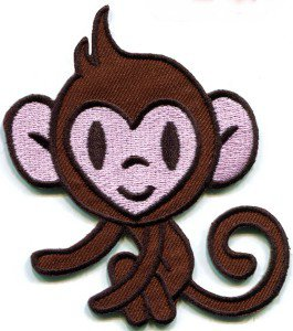 Monkey ape chimp animal retro applique iron-on patch FREE SHIP, NO LIMIT! S-295