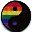 Yin Yang gay lesbian pride rainbow retro LGBT applique iron-on patch Small S-133