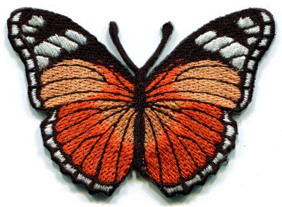 Butterfly orange hippie retro boho embroidered applique iron-on patch S-157