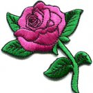 Rose tattoo biker retro boho love applique iron-on patch pink S-195