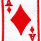 Ace of Clubs red playing cards retro biker rat pack applique iron-on patch S-10