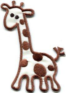 Giraffe baby animal wildlife kids applique iron-on patch S-307