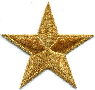 Star retro boho disco hippie 70s applique iron-on gold S-153