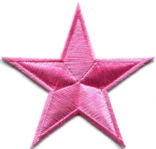 Star retro boho hippie 70s disco applique iron-on pink S-152