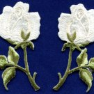 White roses pair flowers floral boho applique iron-on patch S-481 FREE SHIPPING WORLDWIDE!