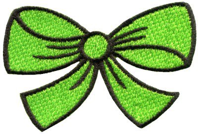 Light green bow knot ribbon boho retro sew sewing applique iron-on patch S-438