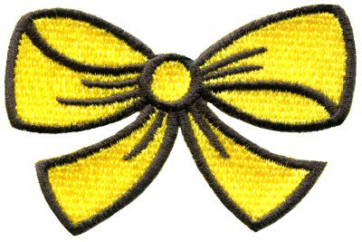 Yellow bow knot ribbon boho retro sew sewing applique iron-on patch S-441