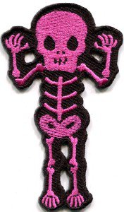 Skull skeleton goth punk emo horror biker sew applique iron-on patch S-453