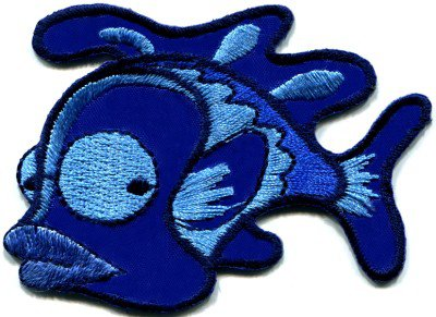 Fish retro fun blue applique iron-on patch S-227