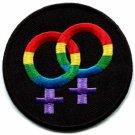 Lesbian symbol gay pride rainbow disco retro LGBT iron-on patch S-141