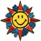 Sun smiley face hippie groovy 70s retro boho applique iron-on patch S-302
