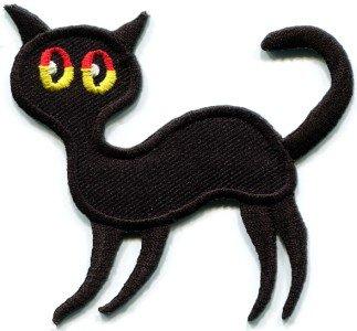 Black cat kitten kitty retro creepy boho Halloween applique iron-on patch S-214