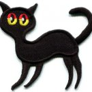 Black cat kitten kitty retro creepy boho Halloween applique iron-on patch S-214