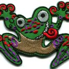 Frog toad hippie retro fun applique iron-on patch S-230