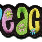 Peace sign hippie retro boho love weed flower power applique iron-on patch S-30