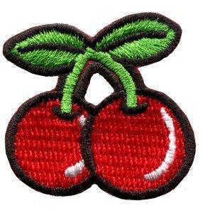 Cherry cherries fruit retro boho biker applique iron-on patch S-193