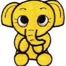 Elephant calf baby pachyderm animal wildlife yellow applique iron-on patch S-216