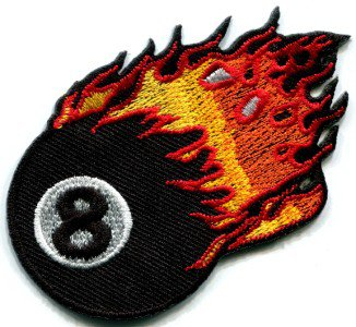 Flaming eight ball retro biker pool applique iron-on patch S-268