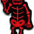 Skull skeleton goth horror rock metal blood red applique iron-on patch S-263