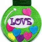 Christmas Xmas ball decoration yule love peace applique iron-on patch S-249