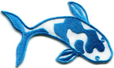 Japanese koi carp fish tattoo Japan love blue applique iron-on patch S-433