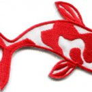 Japanese koi carp fish tattoo Japan love red applique iron-on patch S-436