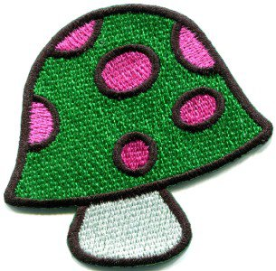 Mushroom boho hippie retro love peace weed trance applique iron-on patch S-425