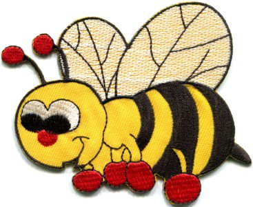 Honeybee honey bee insect fun retro sew sewing applique iron-on patch S-419