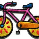 Bicycle retro bike cycle cyclist kids fun 70s applique iron-on patch S-123