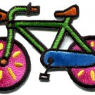 Bicycle retro bike cycle cyclist 70s kids fun applique iron-on patch S-124