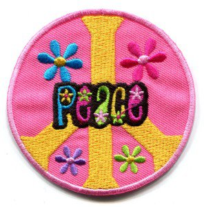 Peace sign hippie retro boho love weed applique iron-on patch S-23