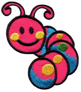 Caterpillar worm insect bug retro kids applique iron-on patch Small S-185