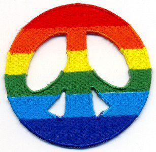 Peace Sign gay lesbian pride rainbow LGBT applique iron-on patch Small T-19