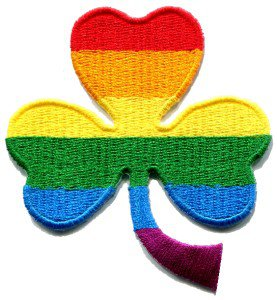 3 leaf clover gay lesbian pride rainbow retro LGBT applique iron-on patch S-131