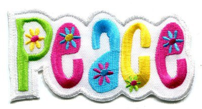 Peace sign hippie retro boho love weed applique iron-on patch S-32