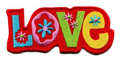 Love groovy hippie retro embroidered iron-on patch S-37