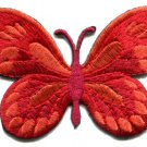 Butterfly hippie boho retro red embroidered applique iron-on patch S-169