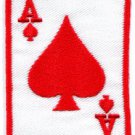 Ace of Clubs red playing cards retro biker rat pack applique iron-on patch S-14