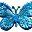 Butterfly blue hippie retro boho embroidered applique iron-on patch S-171