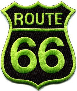 Route 66 retro muscle cars 60s americana USA applique iron-on patch S-281