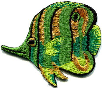 Angelfish fish green applique iron-on patch S-224